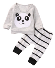 Baby Clothing Sets Kids Newborn baby Boys Girls Long Sleeve Panda T-shirt +Striped Pants Infant Clothes Outfits Sets 0-18M(China)