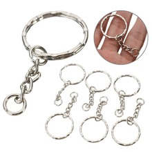50Pcs Split Ring Keychain Key Fob Connector 4 Link Chain Key-ring Silver 55 Long(China)