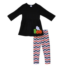 2016 New Style Baby Girl Clothes Boo Decoration Round Neck Long Sleeve Top Chevron pant Halloween Kid Boutique Outfit H015