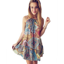 YJSFG HOUSE Fashion Women Floral Print Short Beach Dresses Summer Sexy Ladies Casual Retro Loose Sleeveless Party Club Dress