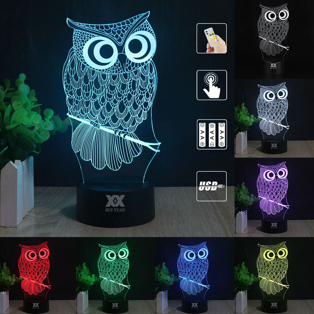 OWL 3D Night Light RGB Changeable Mood Lamp LED Light DC 5V USB Decorative Table Lamp Get a free remote control<br><br>Aliexpress
