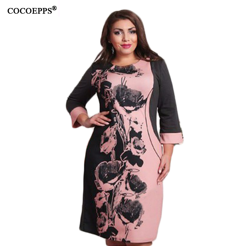 New Fashion Style Casual Women Plus Size Dress Straight Patchwork Floral Print Full Sleeve O-Neck Knee-Length Female Dress L-6XL