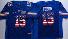 Nike 2016 Stanford Florida Gators Blue TEBOW #15 Printing on the flag  T-shirt Limited Jersey - White Size S,M,L,XL,2XL,3XL