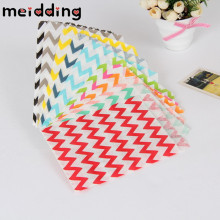 MEIDDING 25pcs/lot Wavy lines stripes Paper Bags Popcorn Bags  Party Food Paper Bag Wedding Birthday Party Supplies 13x18cm