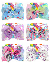 "1Pcs 8 Inch""jojo Girls Siwa Unicorn Collection Coral Colorful Hairpin Large Hair Bows Hair Accessories For Girls (China)"