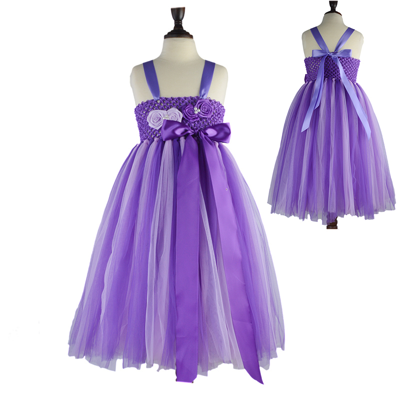 Latest Kids Girls Flower Bow Formal Party Ball Gown Princess Bridesmaid Wedding Children Tutu Dress Purple mix Lavender(China)