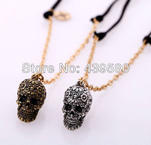 Fashion Gift Antique Silver/Gold Color Skull Necklaces Women Personalized Cheap Punk Vintage Necklace Wholesale(China)
