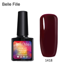 Belle Fille Red Wine Gels Nail Polish for Fashion Makeup UV Gel Soak Off Bling Shining Coat 20 Colors Nail Gel Polish UV LED(China)