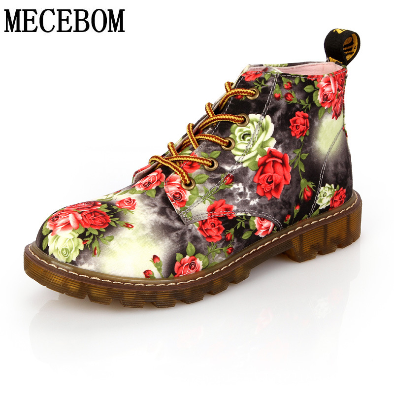 Fashion Autumn ankle boots woman platform Martin boot women flower printed boots martins Zapatos Mujer Women casual shoes<br><br>Aliexpress