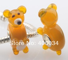Transparent Light Brown Bear Murano Glass Beads Fit for 3MM European Fashion Jewelry Findings & Components