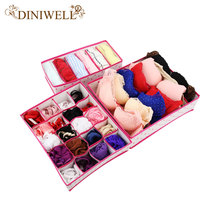 DINIWELL 3PCS Rose Dot Non-woven Design Home Folding Storage Box For Underwear Sock Bra Ties Organizer Drawer Divider Container(China)
