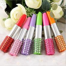 6 Pcs/pack Rhinestone Sexy Lipstick Shape Office Stationery Ballpoint Ball Pen(China)
