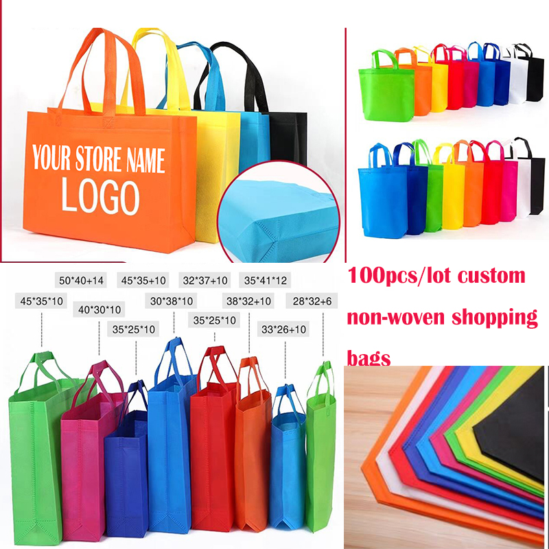 100pcs/lot customized logo Non-woven shopping bags personalized logo jewelry tote bags, plastic clothes bags handle bags