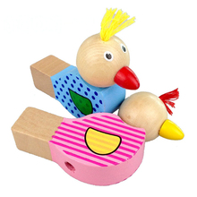2pcs Cartoon bird whistle baby wooden sound toys kids small pendant puzzles Toys Wooden puzzle instrument gift Toys CU35(China)