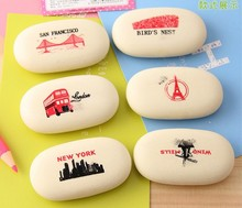 1pcs/lot New Novelty Oval Shape creative Vintage World eraser Candy Funny Rubber Office&Study Kids Gifts Freeshipping!(China)
