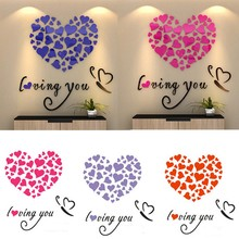 1PC Fashion Cute DIY 3D Mirror Acrylic Wall Stickers Love Heart Home Removable Decal Art Home Decor Wall Sticker 2017 Hot