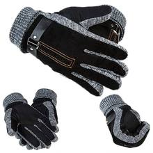 1 Pair Men's Leather Glovers Thinsulate Soft Feel Fully Lined Winter Warm Walking Mittens Leather Driving Gloves Men Black Brown(China)