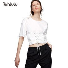 RichLuLu Apparel 2017 New Chic Preppy Women T-shirt Casual Cute Lace Up Basic Crop Tops Shirt Brief O-Neck Female T-shirt