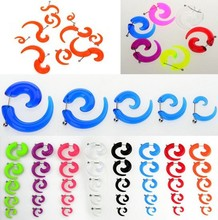 10Pcs FAKE Spiral Taper Solid Transparent Acrylic Illusion Stud Ear Cheater Plug(China)