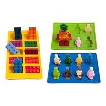 Different Shaped Lego silicone mold Robot for Candy Chocolate Block Ice Cube Tray Building Bricks Jelly Cake Mould Set of 3