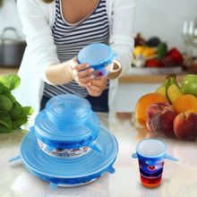 6pcs/Lot Lid Silicone Saran Food Wrap-bowl Pot Lid-silicon Stretch Lids Silicone Cover Pan Kitchen Vacuum Lid Sealer