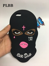 PLBB Brand 3D Big Eyes Mask Teared Girls Jesus Christian Cross Coque Case for iPhone 6s 6 7 8 plus 5 5S SE X Silicone Capa Cover(China)