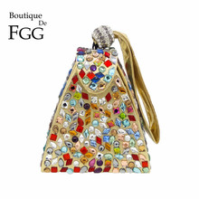 Multi Diamond Rhinestones Pyramid Crystal Gold Evening Clutch Bag Women Party Wristlets Handbag Purse Bridal Wedding Clutches
