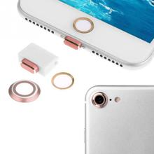 New 4 in 1 Set Rear Camera Cover Home Button Ring Charging Port Anti Dust Plug For iPhone 7/7Plus(China)