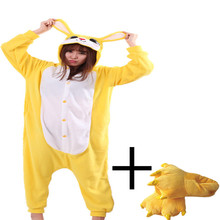 0fa80532e67b Chinese Market Online Unisex Adult Footed Pajamas Yellow Rabbit Cosplay  Onesie Funny Halloween Party Costume With