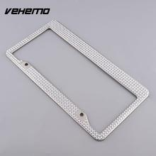 Vehemo Stainless Steel Metal Noble Luxury Bling Crystal Number License Plate Frame(China)
