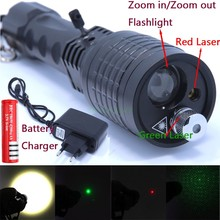 3 in 1 Flashlight Green/Red Laser 4 modes 2000 LM Zoomable Led Light Lantern Torch LED Flashlights+18650 +Charger(China)
