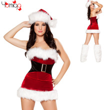 CLEARANCE SALE Off shoulder Red Santa Claus Costume Dress Cheap Adult Women Sexy Xmas Costumes Outfit Cosplay Christmas Costume