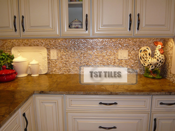 Pearl tile backsplash