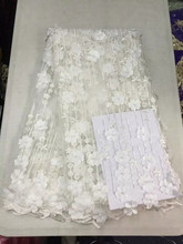 AH40 white best selling African net lace fabric,Quality assurance French lace fabric,3 d flower beads(5color)(China)
