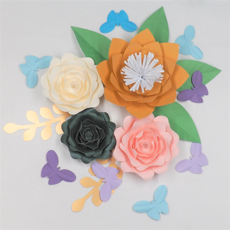 2018 Diy Giant Paper Flowers Backdrop With Leaves Butterflies Half ...