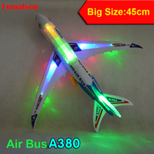 Biggest Size 45cm Long Airbus A380 Flash Sound Aircraft Music Lighting Toys Airplane Best Gift For Children Kids Toy(China)