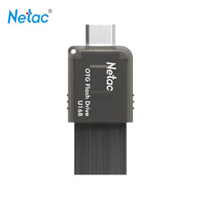 Netac Original U168 USB 3.0 OTG Flash Drive 32GB 16GB Pen Drive Capless Slider U Drive Thumb Memory Stick with Retail Packaging
