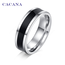 CACANA Titanium Stainless Steel Rings For Women Polishing Cool Black Fashion Jewelry Wholesale NO.R176(China)