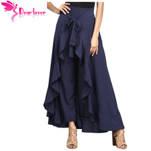 Dear Lover Autumn 2017 Maxi Trousers Womens OL Elegant Pantalon Mujer Chiffon Tie-Waist Ruffle Long Palazzo Pants Femme LC77034(China)