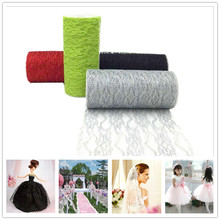 10 Yards Lace Tulle Roll  Organza Sheer Gauze Element Table Runner Tissue Spool Craft Party New Year Deco Wedding Decoration.b