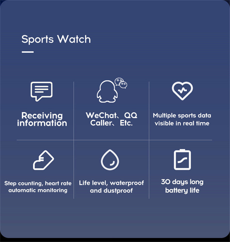 5-130435- Sport Smartwatch Women Heart Rate Monitor Smart Watch Men Blood Pressure Waterproof Fitness Tracker Watch For Android ios 2019