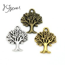 KJjewel Antique Silver Plated Tree of Life Charms Pendants for Jewelry Making Bracelet DIY Craft Charm Handmade 22x17mm