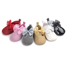 Soft Bottom Fashion glitter bow Baby moccasins girl princess infant mocassins Newborn Shoes PU leather Prewalkers girls Boots