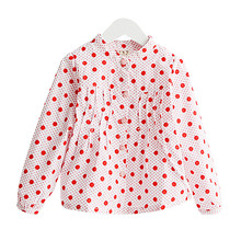Girls Clothes 2017 New Casual Cotton Long Sleeve Dot Collared School Girls Blouse Fashion Cute Girls Shirts 101W(China)