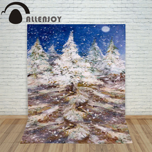 Christmas backdrop photography Allenjoy Painting pine trees snowflakes blue sky background photographic studio vinyl camera(China)