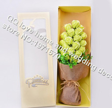 19pcs/rose Strange new creative valentine's day gifts roses soap flower bouquet gift box(China)