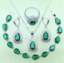 Drop Water Green created Emerald Bracelets Jewelry Sets For Women Wedding Silver color Zircon Earrings/Ring/Necklace/Pendant
