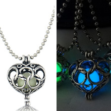 Vintage Women Luminous Necklace Hollow Heart Pendant Ancient Silver plated Chain Long Glowing Necklaces Jewelry For Kids Gift