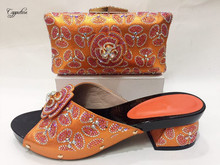 Popular orange design party set matching African shoes and purse bag set for lady 571, 5 color on sale