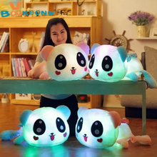 BOOKFONG 35cm Colorful Led Pillow Glowing Panda Plush Doll Luminous Toys Birthday Gift for Girls(China)